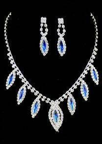 Blue Gemstone Silver Diamond Necklace With Earrings