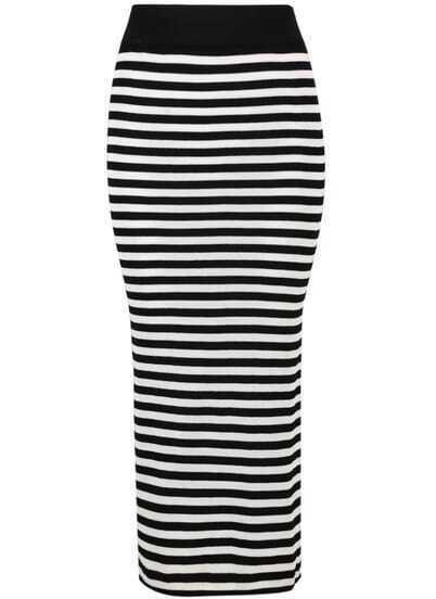 Black White Striped Split Skirt