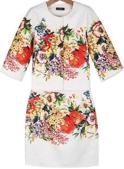 White Half Sleeve Jacquard Coat With Bodycon Skirt