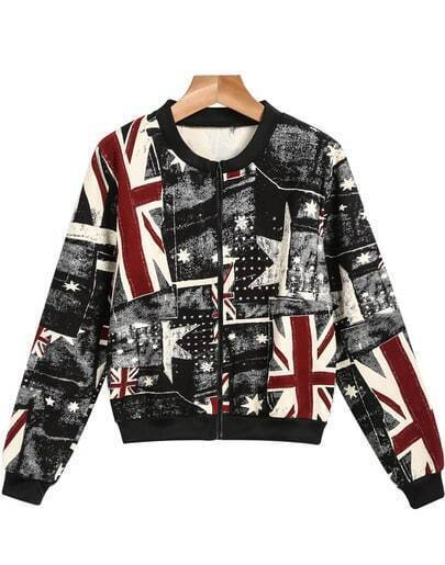 Black Long Sleeve Union Jack Print Jacket