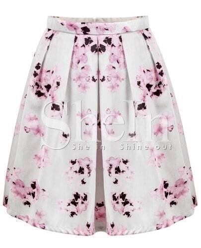 Pink Florals Print Pleated Shikt