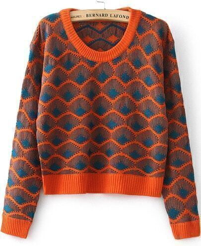 Orange Long Sleeve Zigzag Crop Knit Sweater