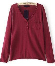 Red V Neck Long Sleeve Pocket Knit Sweater
