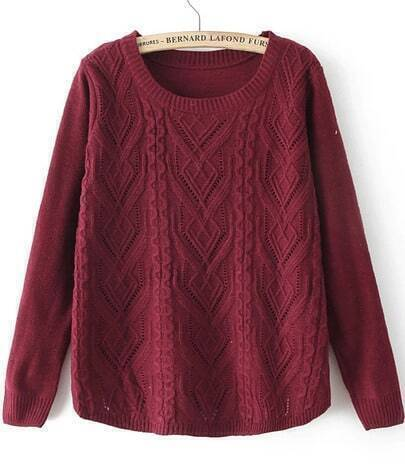 Wine Red Round Neck Long Sleeve Cable Knit Sweater