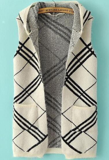 White Sleeveless Geometric Pattern Knit Vest