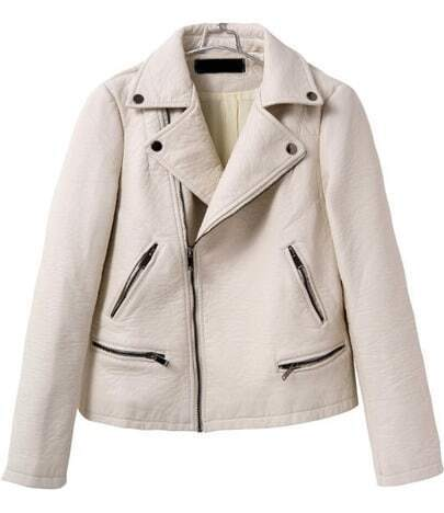 Beige Long Sleeve Zipper Leather Crop Jacket