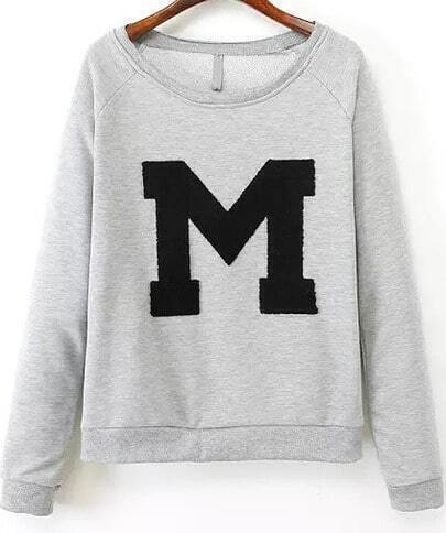Grey Long Sleeve M Embroidered Loose Sweatshirt
