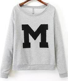 Grey Long Sleeve M Embroidered Loose Sweatshirt