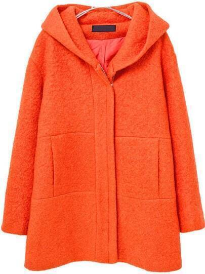 Orange Hooded Long Sleeve Pockets Woolen Coat