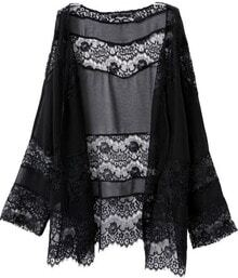 Black Long Sleeve Embroidered Lace Kimono