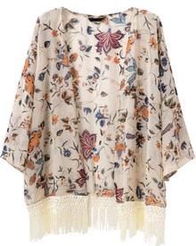 Apricot Tassel Floral Loose Chiffon Kimono