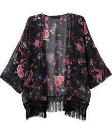 Black Tassel Floral Loose Chiffon Kimono