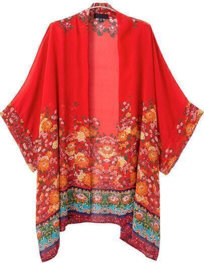 Red Vintage Floral Loose Chiffon Kimono