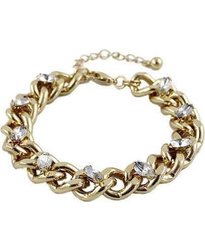 Gold Diamond Chain Link Bracelet