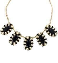 Black Gemstone Gold Chain Necklace