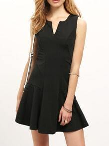 Black Workwear V Neck Sleeveless Ruffle Slim Dress