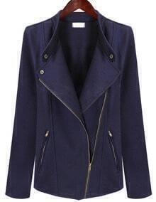 Navy Long Sleeve Oblique Zipper Coat