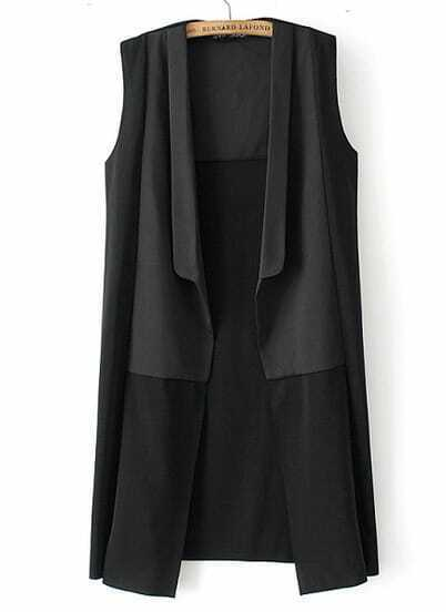 Black Sleeveless Contrast Panel Longline Vest