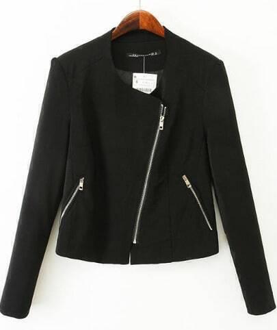 Black Draped Front Oblique Zipper Blazer