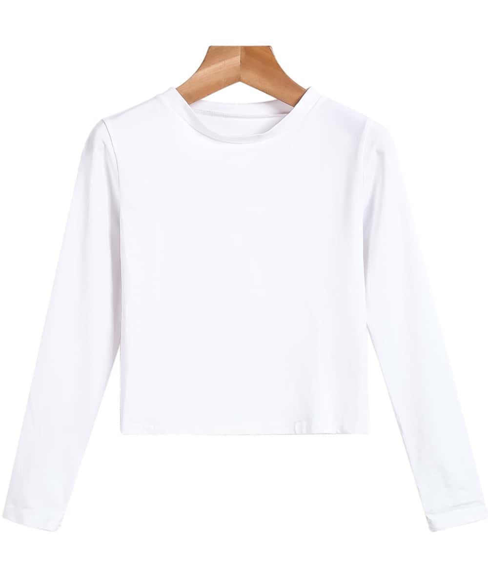 White Long Sleeve Slim Crop T Shirt Shein Sheinside