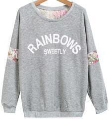 Grey Long Sleeve Lace Letters Print Sweatshirt