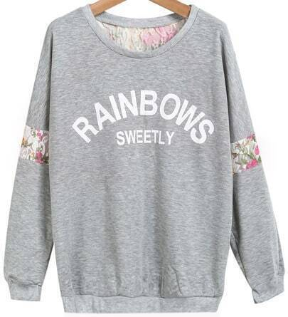 Grey Long Sleeve Lace Letters Print Sweatshirt