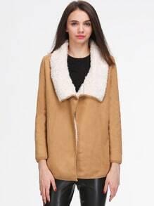 Khaki Faux Fur Lapel Long Sleeve Loose Coat