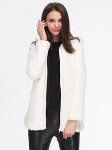 Beige Long Sleeve Zipper Faux Fur Coat