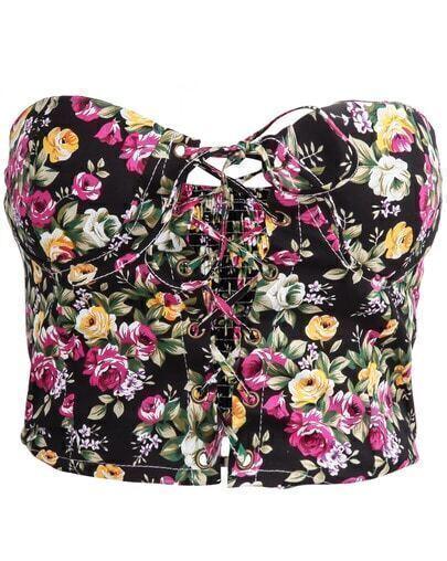 Black Strapless Bandage Floral Crop Vest