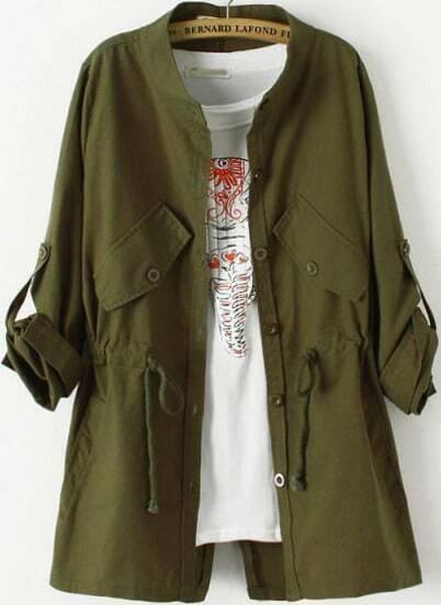 Green Long Sleeve Drawstring Pockets Trench Coat