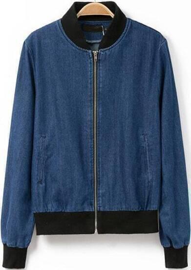 Blue Long Sleeve Pockets Denim Jacket