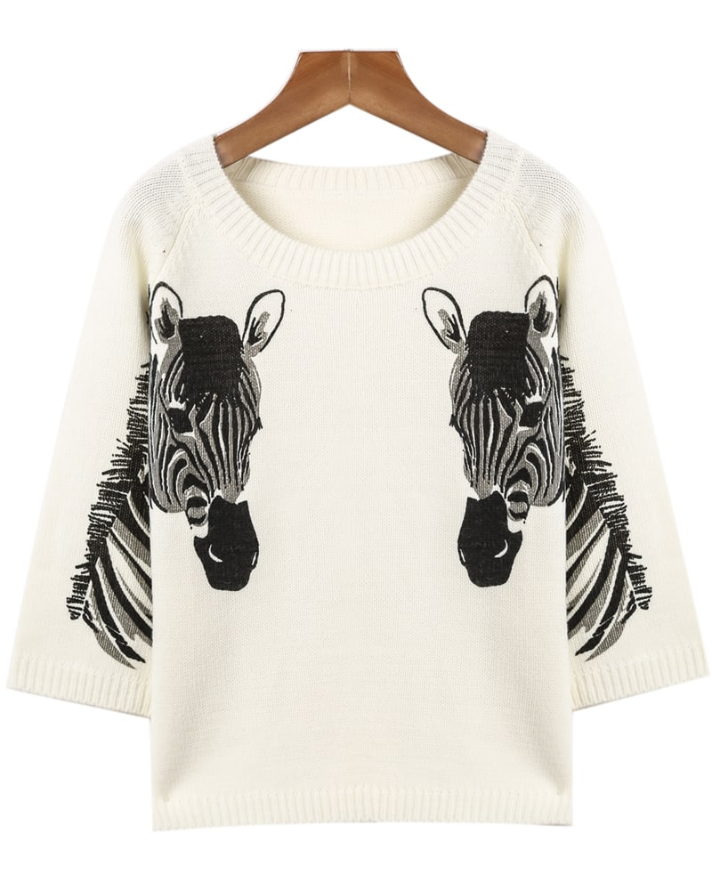 White Long Sleeve Horse Print Knit Sweater -SheIn(Sheinside)