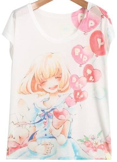 White Short Sleeve Girl Balloons Print T-Shirt