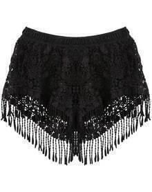 Black Elastic Waist Tassel Lace Shorts