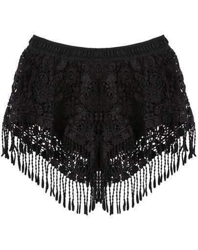 Shorts encaje flecos cintura elástica-negro