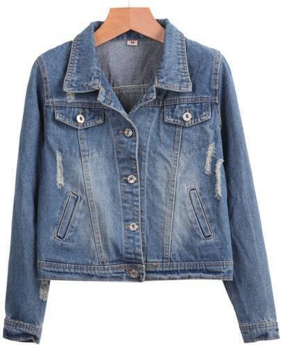 Blue Long Sleeve Bleached Crop Denim Jacket