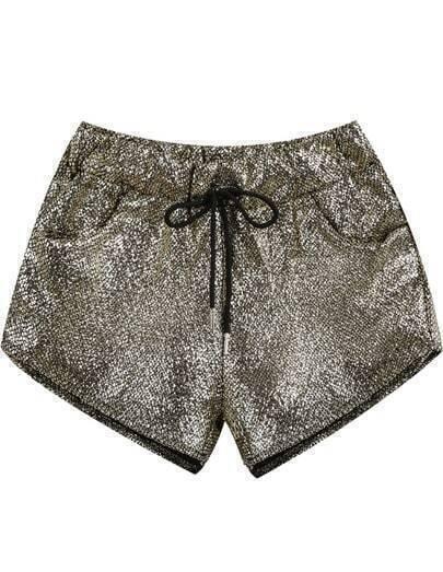 Gold Drawstring Waist Pockets Shorts