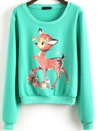 Green Long Sleeve Deer Print Crop Sweatshirt