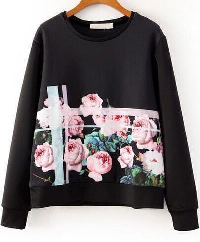 Black Round Neck Long Sleeve Floral Sweatshirt