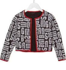 Black Long Sleeve Letters Print Contrast Trims Jacket