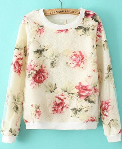 White Contrast Organza Floral Knit Sweater