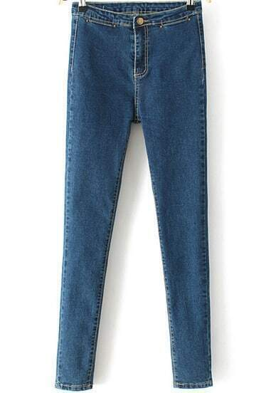 Blue Slim Pockets Denim Pencil Pant