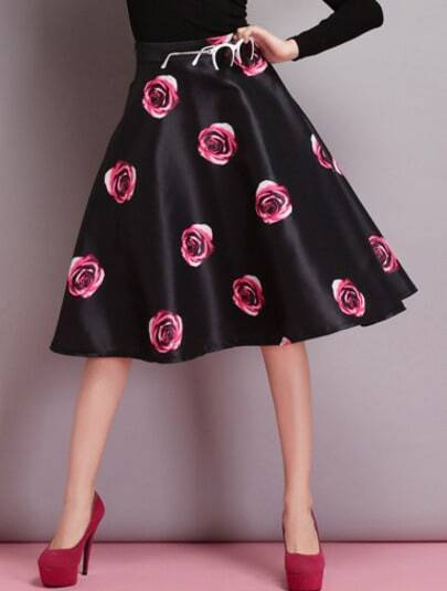 Black High Waist Red Floral Flare Skirt