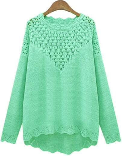 Green Long Sleeve Hollow Loose Knit Sweater