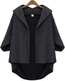 Grey Lapel Batwing Half Sleeve Loose Coat