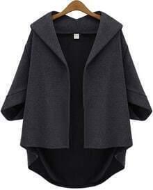 Grey Lapel Batwing Half Sleeve Loose Coat