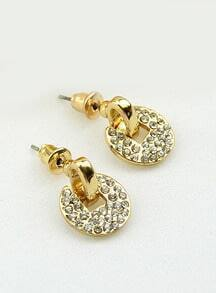 Gold Diamond Round Stud Earrings