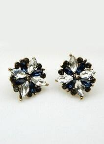 Blue White Gemstone Gold Stud Earrings