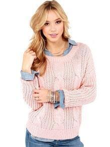Pink Long Sleeve Cable Knit Sweater
