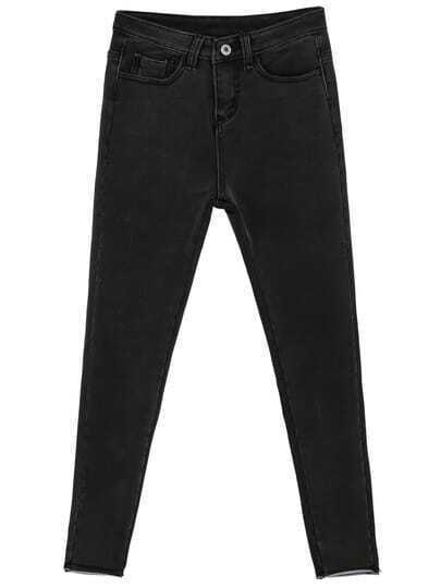 Black Elastic Pockets Denim Pant